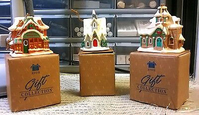 Avon Gift Collection Snow Frost Falls Victorian Village Light Cover Lot Of 3 New
