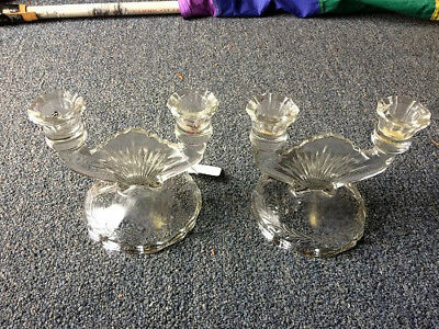 Set of two Vintage Cut Glass Candle Abra