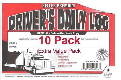 J.J. Keller 8526 701L Duplicate Copy Driver's Daily Log Book Carbonless - Pac...