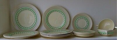 Vintage Woods Ivory Ware 'Rio' Art Deco 1930's china set, plates, cup, bowl