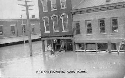 Aurora Indiana Main Street Flood Scene Antique Postcard K84061