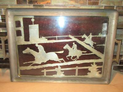 Antique Silver and Rosewood Race Horse Serving Tray