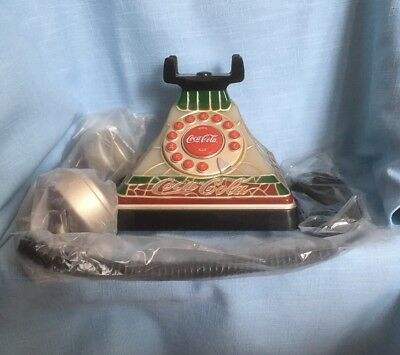 Coca Cola Tiffany Style Stained Glass Push Button Telephone Coke Vtg