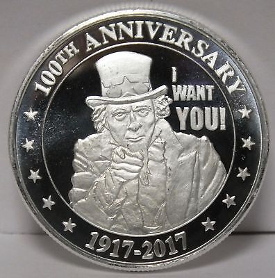 Uncle Sam I Want You .999 Silver Medal - 1 oz Round - 100th Anniversary - JY040