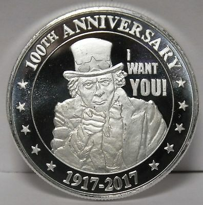 Uncle Same I Want You! 100th Anniversary 1 Oz .999 Silver Round - JY040