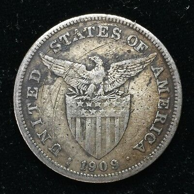 1909s US-Philippines 1 Peso Silver Coin - lot #11B