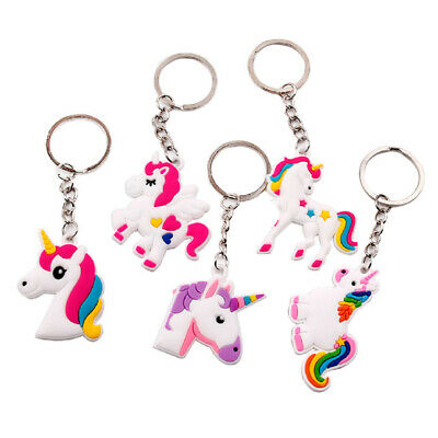 5X Silicon Unicorn Keyring Pendant Key Chain Child Kid Birthday Party Decor Gift