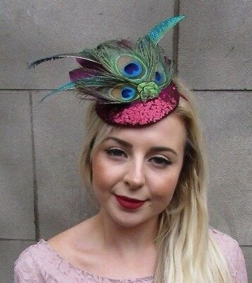 Burgundy Wine Red Green Sequin Peacock Feather Fascinator Races Ascot Hat 5016