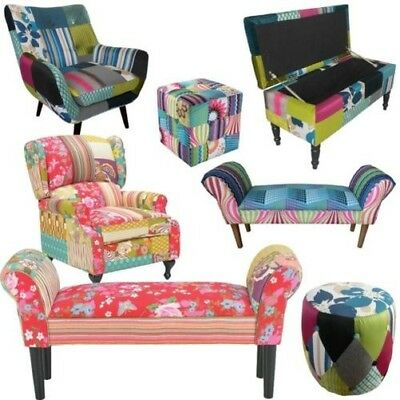 Patchwork Bench Sofa Chair Armrest Sitting Area Children's Room Bank Stool