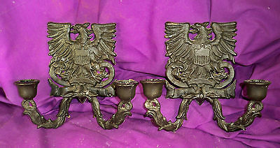 Vintage Pair/2 Black Cast Metal Eagle Wall Candleholders