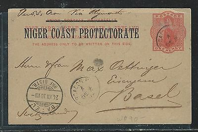 Niger Coast Oil Rivers (P2709B) 1900 Qv Psc To Switzerland With Msg
