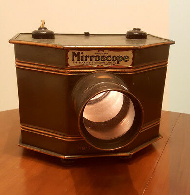 Antique Mirroscope Postcard Projector. With Carbon Filament Bulbs!