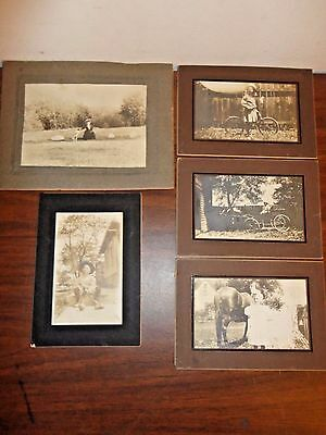 Lot of 5 Vintage Photographs Matted 1900's - 1910 Kids Horse Bicycle North Ohio