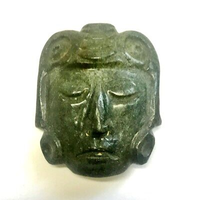 Pre-Columbian  Mayan  Anthropomorphic  Green Stone  Deity  Pendant  for Necklace