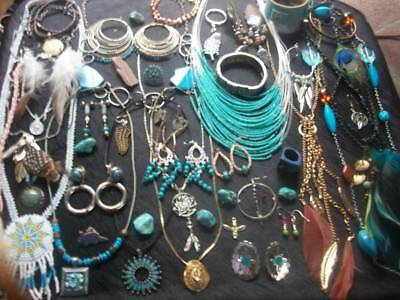 Lot Of Vintage/now Costume Jewelry South West Inspired Real & Faux Turquoise Nic