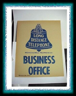 Telephone Sign Paper Michigan Bell Local And Long Distance Business Office
