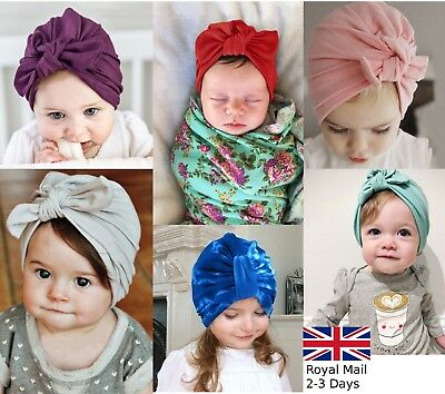 Baby Girls Turban Knot Head Wrap Cute Kid Rabbit Bunny Hat Ear Cotton Velvet Cap