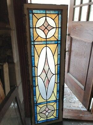 SG1765 antique Stainglass transom window 19 x 62