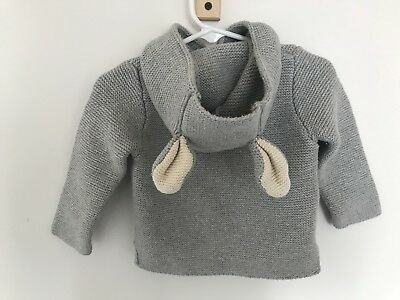 Baby Gap Toddler Boy Girl Gray Cardigan Sweater 6-12 Months Bunny Ears Easter