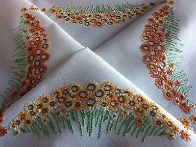 Beautiful Vintage Linen Hand Embroidered Tablecloth ~ Orange Floral Meadows