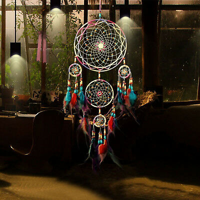 Large Dream Catcher Colorful Feathers Wall Home Office Hanging Ornament Decors