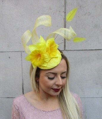 Yellow Daffodil Feather Flower Fascinator Pillbox Hat Races Ascot Floral 5022