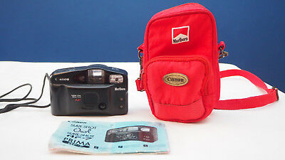 Marlboro Canon Sure-Shot Owl 35mm Camera W/ Bag WORKS TESTED