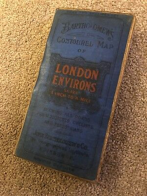 LONDON Environs - Vintage Map by Bartholomew 1 inch to a mile on cloth