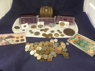 Vintage Junk Drawer Lot: Old US & Misc. Foreign Coins, Treasure Chest Bank, Etc.
