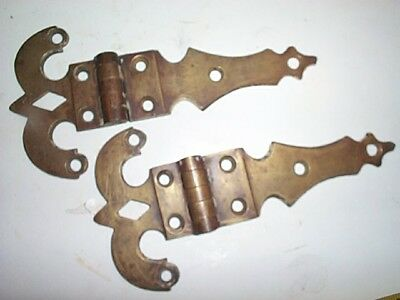 Early  Old Antique Victorian Vintage Solid Cast Brass Door Hinges #6