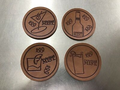 Canadian Mist Whiskey 1999 Leather Coaster W/Original Package - Set of 4 -