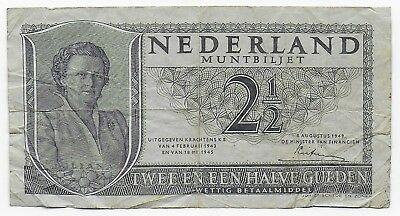 Netherlands 2 1/2 Gulden 1949 Free Shipping