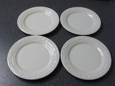 "Longaberger Woven Traditions Pottery- Ivory 9"" Luncheon Plates (4)-Usa-Euc"