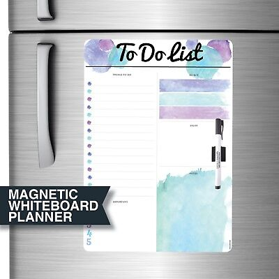 """Large Dry Erase Whiteboard A3 """"To Do List"""" Planner. Free Marker & Magnetic Clip."""