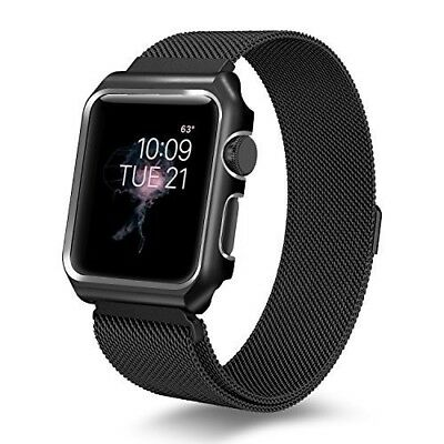 Apple Watch BAND ONLY Series 3 Milanese Loop + Metal Protective Case 42MM Black