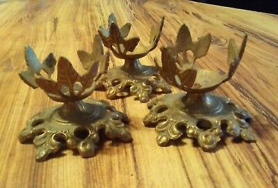 3 VTG  Brass Candle Holders Candlesticks Leaves RARE OLD Decor Ornate Offer?