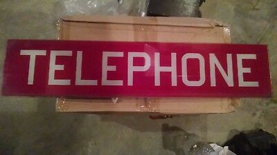 Small RED Sign VINTAGE GLASS WESTERN ELECTRIC TELEPHONE BOOTH SIDE INSERT PANEL