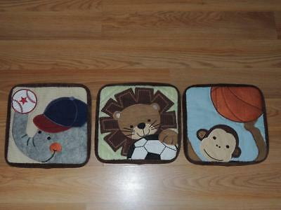 Lambs & Ivy Team Safari 3 Soft Wall Hangings Monkey Elephant Lion Basketball