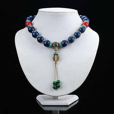 Tibet old Lapis Lazuli  Handmade Prayer Beads Necklace D866