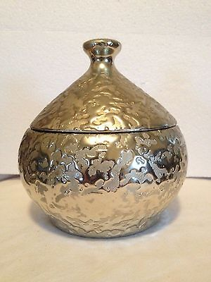 Golden Brocade Onion Shape Covered Dish Weeping Gold Mid Century McCoy