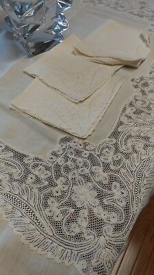 "Antique italian milanese lace linen tablecloth 48""×46"" napkins"
