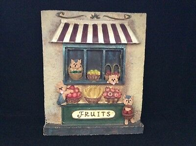 Yorkshire Terrier Yorkie Dogs Fruits Shop Wall Plaque Ooak Clay Sculpture