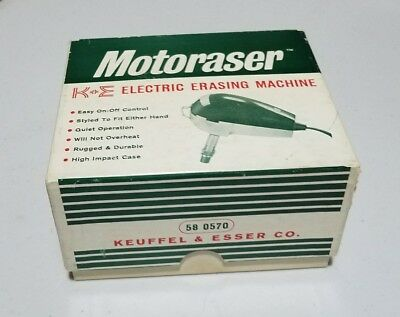 "Vintage ""Motoraser"" Electric Eraser K+E KEUFFEL & ESSER Drafting Engineers Tool"