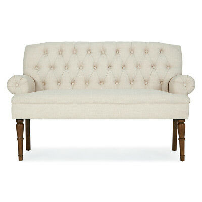 Settee Button Tufted Vintage Sofa Couch Bench w/ Linen Fabric Wood Legs, Beige