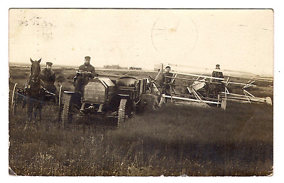 Here Real Photo A Rare photo of old rare odd Tracter With 2 binders mohall ND