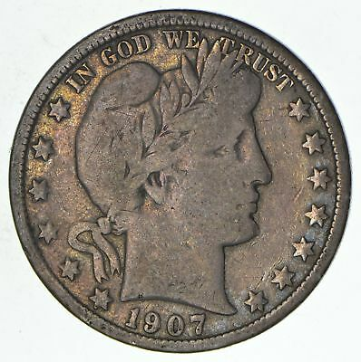 50c United States Coin - 1907 Liberty Barber 90% Silver US Half Dollar *489