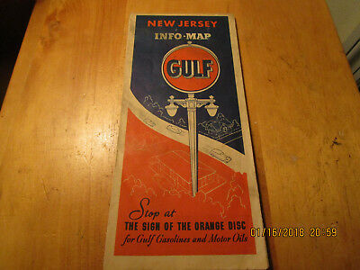 1938 Gulf Oil Road Map New Jersey