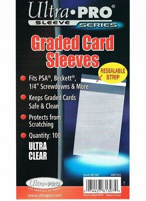 ULTRA-PRO RESEALABLE GRADED CARD SLEEVES PACK OF 100 Lot of 2