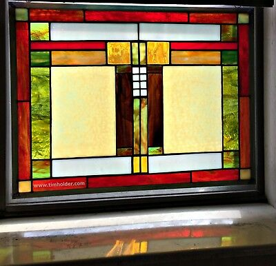 Stained Glass Window Panel* High Quality Glass* Timeless Mission Style* USA Made