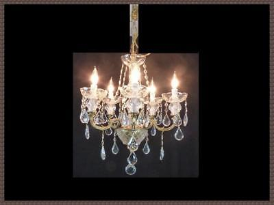 Vintage European Brass & Crystal Chandelier Amazing Full leaded Crystals LQQK!